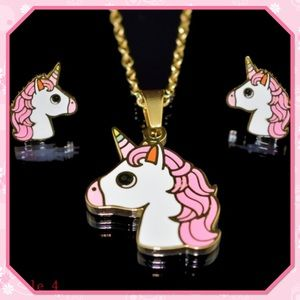 🦄New🦄Cute Unicorn Necklace Earrings Set🦄